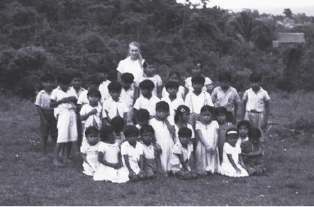"""Teacher"" and some of her students. Maxiana Choc is in front of me on the right.  Her husband-to-be, Esteban Choc, is in the row ahead of her on the left, holding his hands across his chest. (Photo by A. Terry Rambo)"