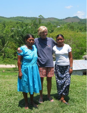 Maxiana, Joan, and Miriam. I wouldn't have dreamed of wearing shorts  when I lived here, but Francisca assures me that Kekchi women wearing pants—even short ones—is now commonplace. So are bras.